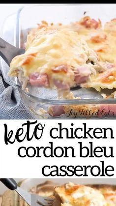 Keto Casserole, Low Carb Breakfast Casserole, Low Carb Chicken Casserole, Chicken Cordon Bleu Casserole, Diet Recipes, Cooking Recipes, Keto Meals Easy, Easy Low Carb Recipes, Recipes