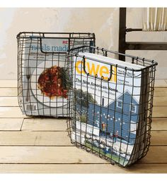 Vintage Wire Magazine Tote -- next to couch