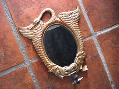 Vintage 1920s Art Deco Mirror Candle Sconce Swan by bycinbyhand, $125.00