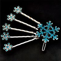 6pcs/Set Fashion Snowflake Hair Clip Hairpins Vintage Women Blue White Crystal Snow Queen Hair Jewelry Vintage Accessories