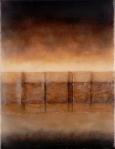 "Rodney Thompson T #8 Encaustic, teabag paper, coffee, rust, earth 12"" x 9"" 2006"