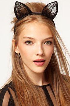 Black Lace Cat Ears Headband