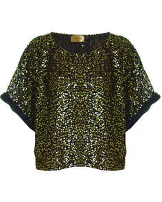 LOU LOU BLACK AND GOLD SEQUIN CROPPED TOP