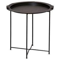 Metal Folding Side Table Black