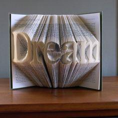 Plié livre Art - Book Sculpture - meilleur vente d'article - Dream - copain anniversaire - anniversaire cadeaux pour lui - hommes - mariage - livre Art