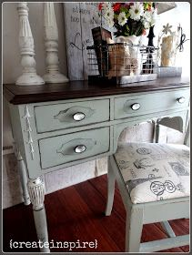 {createinspire}: Antique Desk,  I chose this soft gray/green because it's casual, neutral, and pairs beautifully with the dark wood top. *color is Oyster Bay from Sherwin Williams and I did the undercoat in Retreat off the same color chip. It's very subtle under the parts that are distressed a little heavier. Did the details with a soft off white. Lined the drawers with same fabric as the chair.