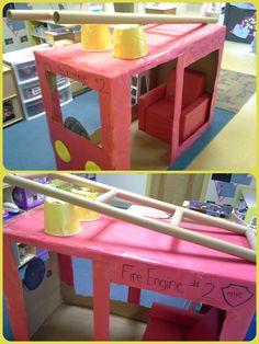 Classroom Community Helpers Unit: cardboard box Firetruck