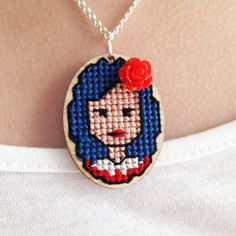 Items similar to Custom Girl Portrait Handmade Cross Stitch Wooden Pendant with Resin Flower on Etsy Cross Stitching, Cross Stitch Embroidery, Hand Embroidery, Cross Stitch Patterns, Small Cross Stitch, Cross Stitch Boards, Resin Flowers, Cross Jewelry, Embroidery Jewelry