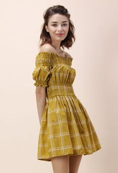 Perfect Grid Off-shoulder Dress in Mustard - New Arrivals - Retro, Indie and Unique Fashion