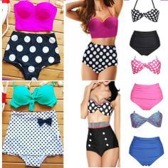 Sexy Swimwear Retro Polka Dot high waist Bottom Bikini Set Swimsuit Bathing Suit #Unbranded #Bikini