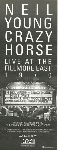 New York 1970s Neil Young's Crazy Horse at the Fillmore East.