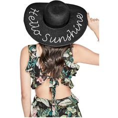 GUESS Sequin Straw Beach Hat ( 34) ❤ liked on Polyvore featuring  accessories 415a60045e43