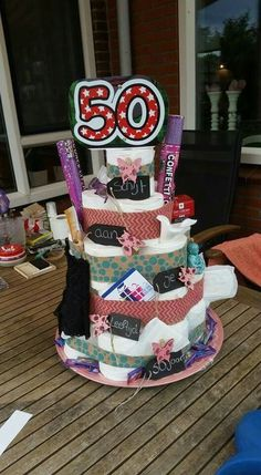 Abraham And Sarah, 50th Birthday Decorations, Towel Cakes, Original Gifts, 50th Birthday Party, Candy Gifts, Gift Baskets, Special Gifts, Diy And Crafts