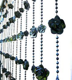 Gothic Black Roses Beaded Curtain