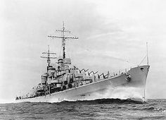 USS Atlanta (CL 51), steaming at high speed, probably during her trials, circa November 1941. Naval Battle of Guadalcanal Nov 1942 sank