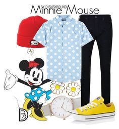 """Minnie Mouse"" by leslieakay ❤ liked on Polyvore featuring The Horse, Monsoon, Converse, True Religion, Forever 21, men's fashion, menswear, disney and disneybound"