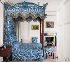 Prince Charles's Traditional Bedroom: The State Bed was the most expensive piece of Thomas Chippendale's commission for Dumfries House in Ayrshire, Scotland. Chippendale added its design to the 1762 edition of his book The Gentleman and Cabinet-Maker's Director.