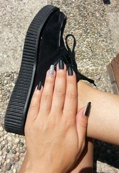 My nails today! ♥ Black matte glitter accent nail art