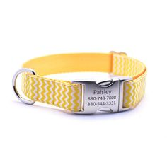Chevron Dog Collar With Personalized Buckle - Yellow