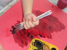 Children like to paint with pizzazz - encourage them to be creative and experiment by mixing colors and textures.