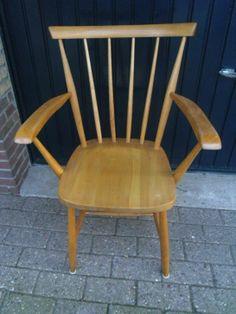 Spijlenstoel / spijltjesstoel met armleuning jaren 50 / 60