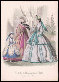 VICTORIAN antique Parisian Fashion Print Plate HAND COLORED child girl hat dress