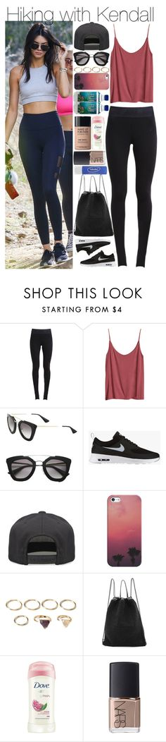 """""""Hiking with Kendall"""" by mrspayne-1d ❤ liked on Polyvore featuring NIKE, H&M, Prada, Alex and Chloe, Casetify, Forever 21, Kara, Dove, NARS Cosmetics and MAKE UP FOR EVER"""
