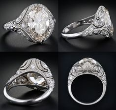 Vintage Style Engagement Ring - 4.44 Carat Oval Diamond via Lang Antique & Estate Jewelry
