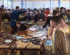 Fish auction at Les Halles (Paris)  by Edouard-Jean Dambourgez (1844 - 1890)