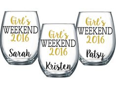 3 Girl's Weekend Stemless Wine Glass