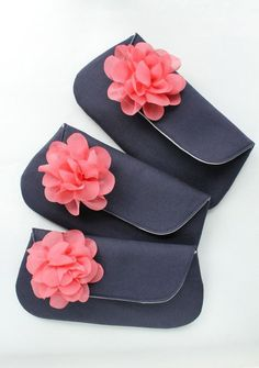 Bridesmaid Clutch Navy Set of 8 Navy and Coral