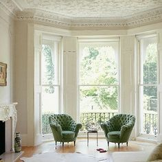 Stunning Victorian Bay Window Seat with Storage Design Ideas 31 Decor, Green Chair, Window Seat Storage, Floor To Ceiling Windows, Home And Living, Interior Design, Home Decor, House Interior, Room