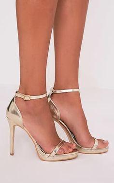 Enna Gold Single Strap Heeled Sandals