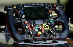 The steering wheel of a 2014 Sauber Formula 1 car
