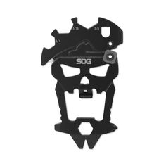 SOG Knives' MacV Tool is a multitool made of 3Cr13 stainless steel, and shaped after the emblem of the famed Military Assistance Command Viet Nam Studies and Observations Group. As expected of a multitool, despite its unique look the MacV Tool is fully functional, featuring the following 12 tools:  – 1/4″ Hex Bit Driver – 1/4″ Wrench – 3/8″ Wrench – 5/16″ Wrench – Bottle Opener – Carbide Sharpener – Cord Cutter – Large Flat Screwdriver – Nail puller – Philips Screwdriver – Pry Bar
