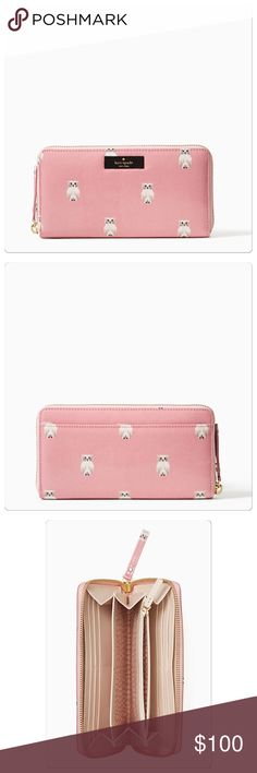 Kate Spade pink owl wallet Kate Spade daycation owl wallet. Pink zip around wallet. Measures 7.5x4.  Brand new with tags. kate spade Bags Wallets