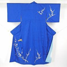 Blue, tsukesage kimono / 化繊地に趣きある柄を施した付け下げ http://www.rakuten.co.jp/aiyama #Kimono #Japan #aiyamamotoya