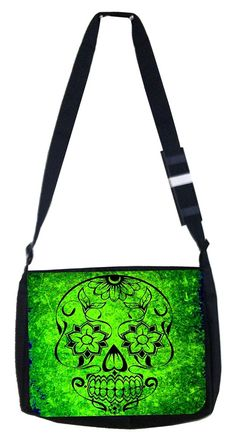 Neon green grunge skull Rosie Parker Inc. TM Medium Sized Messenger Bag 11.75' x 15.5' and 4.5' x 8.5' Pencil Case SET ** See this great product. (This is an Amazon Affiliate link and I receive a commission for the sales)