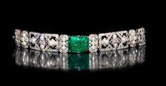 art deco emerald, pearl and diamond bracelet,