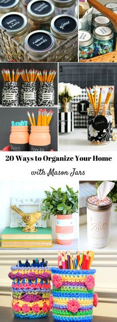 20 ways to organize your home with mason jars: These are cute, creative ways to make mason jars into fun organizational tools.