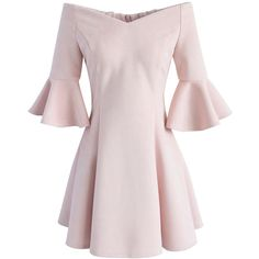 Chicwish Simple Elegance Off-shoulder Suede Dress in Pink ($60) ❤ liked on Polyvore featuring dresses, pink, off shoulder dress, pink day dress, suede leather dress, flounce sleeve dress and pink suede dress