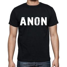 anon Men's Short Sleeve Rounded Neck T-shirt , 4 letters Black
