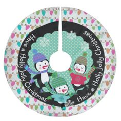 Penguins Holly Jolly Christmas holiday tree skirt features a beautiful design featuring a white background with strings of colored tree lights, a black ring, aqua center with white polka dots, snowflakes of white, three adorable penguins with sweaters, winter hats, ice skates, and scarves, and white text that reads Have a Holly Jolly Christmas! #christmas #holiday #snowflakes #family #beautiful #xmas #holly #jolly #christmas #dots #penguins #skating #pretty #bright #cheery #winter #country