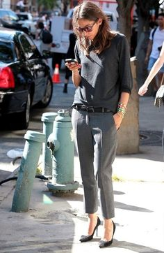 Capucine Safyurtlu in a great grey-on-grey look #style #fashion #workwear