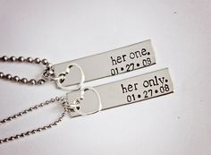 Her One, Her Only - The Original - Lesbian Couples Jewelry - Hand Stamped Stainless Steel LGBT Necklace Set - Sterling Silver Heart Charm on Etsy, Wedding Gifts For Couples, Lesbian Wedding, Our Wedding, Dream Wedding, Wedding Ideas, Wedding Vintage, Wedding Menu, Wedding Poses, Wedding Pictures
