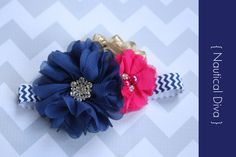 baby headband { Nautical Diva } Navy, hot pink, gold, Cruise, Summer Birthday, navy chevron, cake smash photography prop