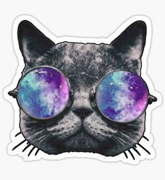 'Cat Eye Hologram' Sticker by Kt Farello Designs Galaxy Eyes, Galaxy Cat, Tumblr Stickers, Cat Stickers, Name Drawings, Overlays, Scary Cat, Buy A Cat, Cat Drawing