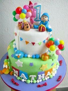Back Pocoyo Cake Baby Cakes, Baby Birthday Cakes, Cake Pocoyo, Fondant Cakes, Cupcake Cakes, Sugar Craft, Occasion Cakes, Cakes For Boys, Cute Cakes