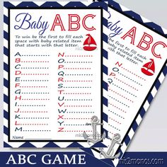 Nautical Chevron ABC Baby Shower Game Printable Card in Red and Navy Blue, Ahoy Its a Boy, Baby Showers INSTANT DOWNLOAD