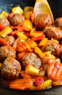 Slimming Eats Sweet and Sour Meatballs - gluten free, dairy free, paleo, Slimming World and Weight Watchers friendly